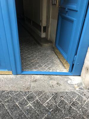 Porte Cochère 19 Rue Des Feuilantines Photo 11 - Vantail Portant Le Portillon Avec Seuil Acier Surbaissé