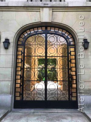 Porte Cochère Acier Art Déco - 41 RUE BOULARD PARIS 14 PORTE FER FORGE